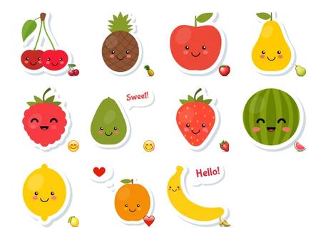 Happy fruits stickers telegram