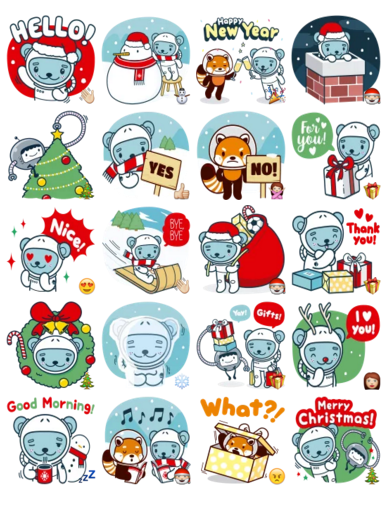 christmas and winter with j u014dk u016bkuma stickers telegram clipart astronaut black and white clipart astronaut with flag