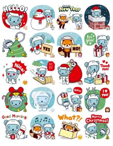 Christmas and winter with j k kuma stickers telegram
